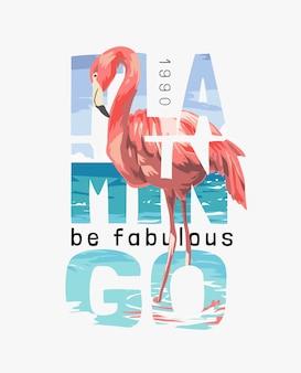 Flamingo wordt fantastische slogan met flamingo op de strandillustratie