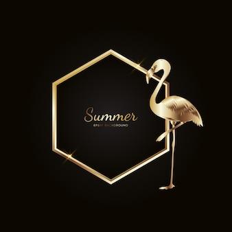 Flamingo zomer gouden frame achtergrond