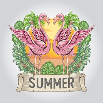 Flamingo-zomer met natuurblad en kokosboomwerk