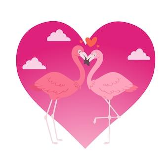 Flamingopaar in de karakters van dierenliefhebbers van het liefdebeeldverhaal op roze hart