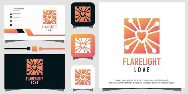 Flare licht met liefde logo vector
