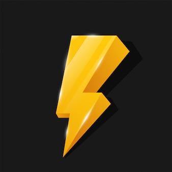 Flash 3d-pictogram geel bliksemthema