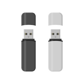 Flash-drive usb-geheugensticks in vlakke stijl