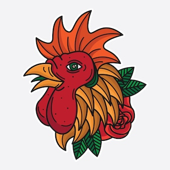 Flash kip hoofd tattoo
