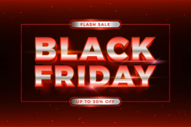Flash sale black friday met effect thema zilver en rood neon realistisch lichtconcept
