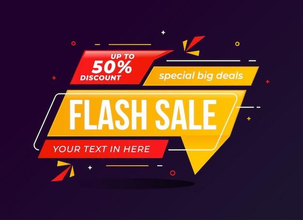 Flash sale korting banner sjabloon promotie