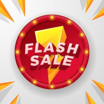 Flash sale korting promo reclame posterbanner met 3d-tekst en geel bliksempictogram