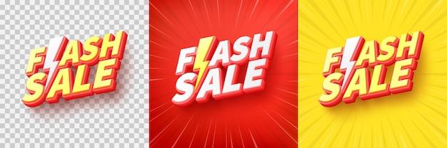 Flash sale poster of banner met flash-pictogram en tekst op transparante en gele achtergrond