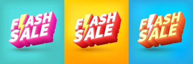 Flash sale shopping poster of banner met flash-pictogram en tekst op verschillende achtergrond
