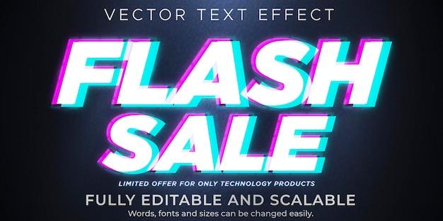 Flash sale-tekst op glitch-effect, bewerkbare korting en aanbiedingstekststijl