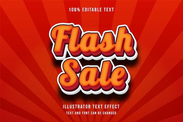 Flash-verkoop, 3d bewerkbaar teksteffect gele gradatie oranjerode moderne schaduwstijl