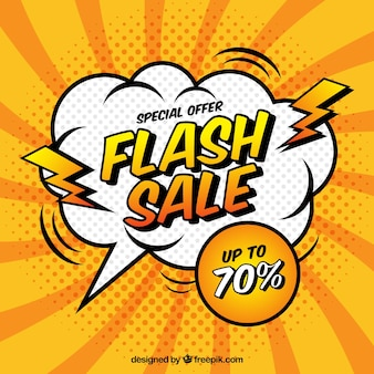 Flash-verkoop achtergrond in komische stijl