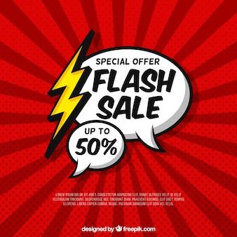 Flash-verkoop achtergrond met komische stijl