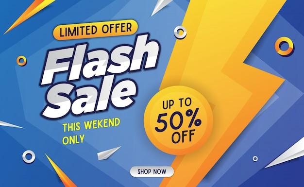 Flash verkoop banner malplaatje blauw
