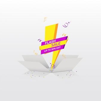 Flash verkoop banner met geschenkdoos, vectorillustratie.