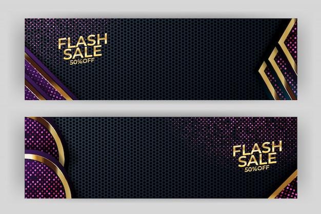 Flash verkoop banner met gouden achtergrond stijl premium party