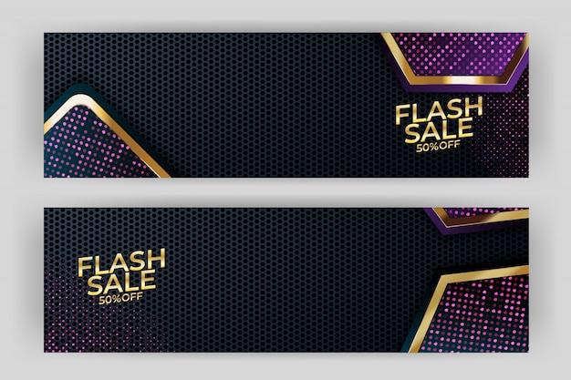 Flash verkoop banner met gouden achtergrond stijl premium