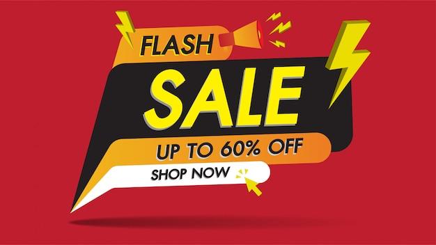 Flash-verkoop banner promotie sjabloonontwerp op rood met gouden onweer
