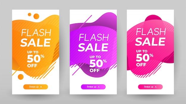 Flash verkoop banners met abstracte vloeibare kleur. verkoop banner sjabloonontwerp, flash verkoop speciale aanbieding set
