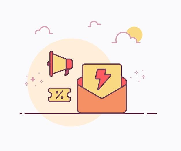 Flash verkoop concept envelop voucher megafoon pictogram met zachte kleur ononderbroken lijn stijl vector ontwerp illustratie