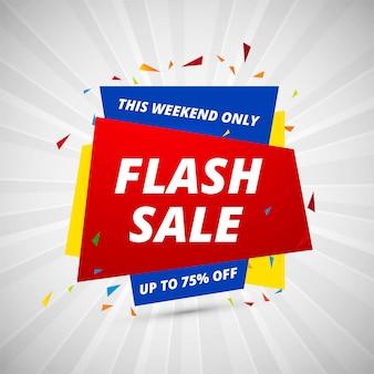 Flash-verkoop creatieve banner kleurrijke ontwerpsjabloon