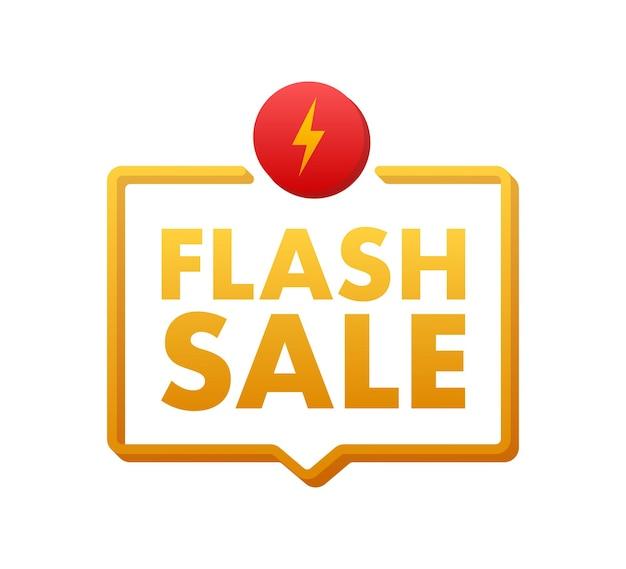 Flash-verkoop. flash vaandel, scroll, prijskaartje, sticker, badge, poster. vector illustratie.
