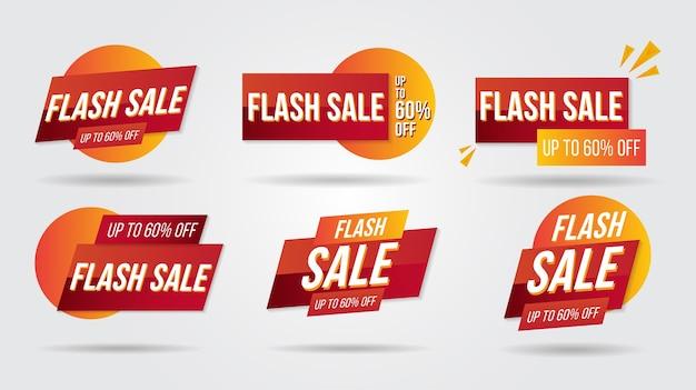 Flash-verkoop korting lebel collectie banner en pictogrammen hoeken labels krullen en tabbladen