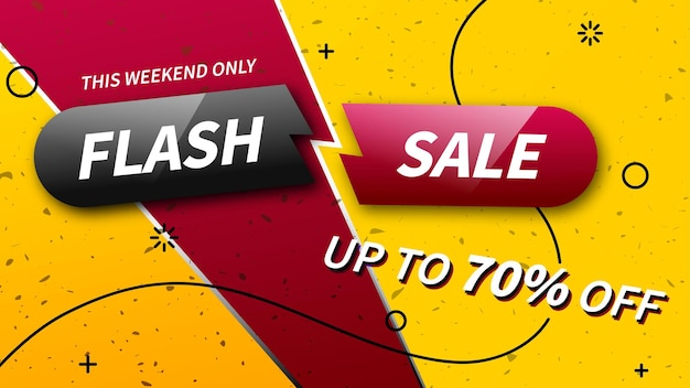 Flash-verkoop kortingsbanner. alleen dit weekend tot 70% korting. trendy promotiesjabloon. klaar banner voor gebruik in web- of printontwerp.