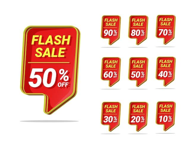 Flash-verkoop kortingslabel sjabloonontwerp met 3d-tekstvak
