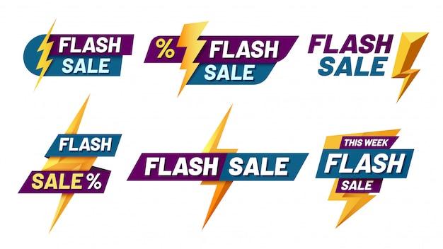 Flash-verkoopbadges. bliksemschichtaanbieding, flitsen verkoopbadge en trendy winkelaanbiedingen illustratie set