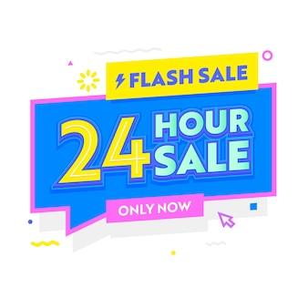 Flash-verkoopbanner in eenvoudige stijl met typografie voor digitale sociale media-marketingadvertenties. 24-uurs hete aanbieding, winkelkorting, kleurrijke funky minimalistische tekstballon. vectorillustratie