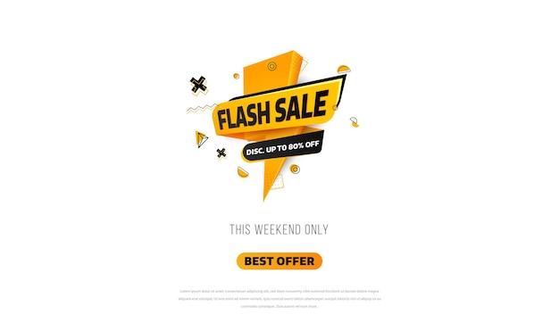 Flash-verkoopbanner. op een dag grote uitverkoop, speciale aanbieding, opruiming. sjabloonontwerp voor verkoopbanner, speciale aanbieding voor grote verkoop. super sale, banner met speciale aanbieding aan het einde van het seizoen. vectorillustratie.