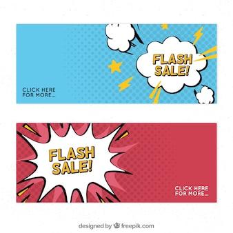 Flash-verkoopbanners in komische stijl