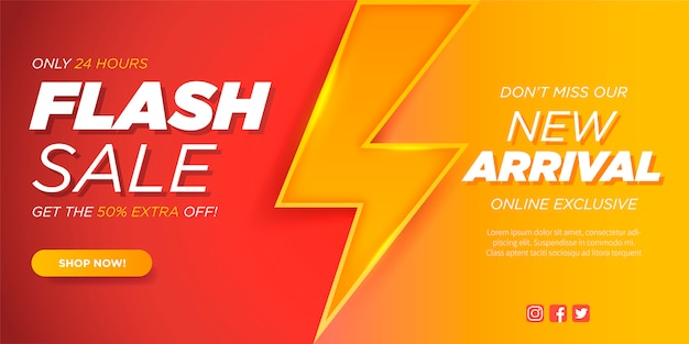 Flash-verkoopbannersjabloon met thunderbolt Gratis Vector