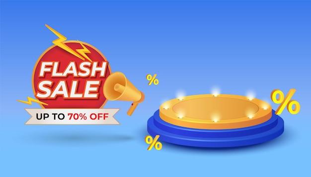 Flash-verkoopbannersjabloon voor speciale aanbieding met podium