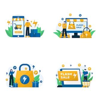 Flash-verkooppromo's, kortingen en illustratie van aankoopbonussen