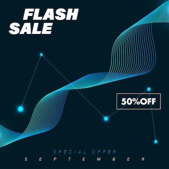 Flash-verkoopsjabloon voor spandoek met blauwe kleur en sprankelend golvend