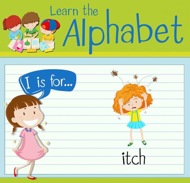 Flashcard alfabet i is voor jeuk