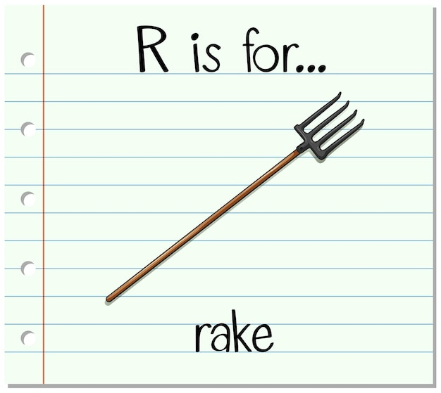 Flashcard alfabet r is voor rake
