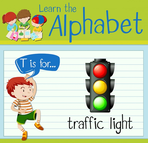 Flashcard alfabet t is voor verkeerslicht