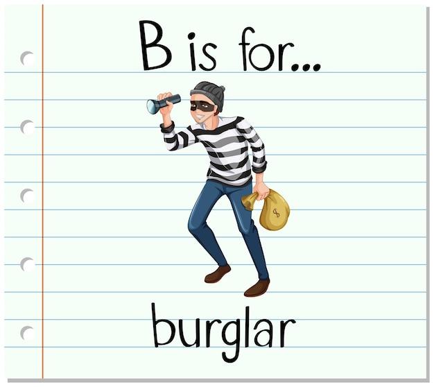 Flashcard letter b is voor inbreker