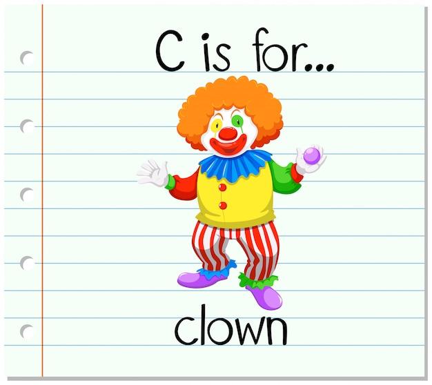 Flashcard letter c is voor clown