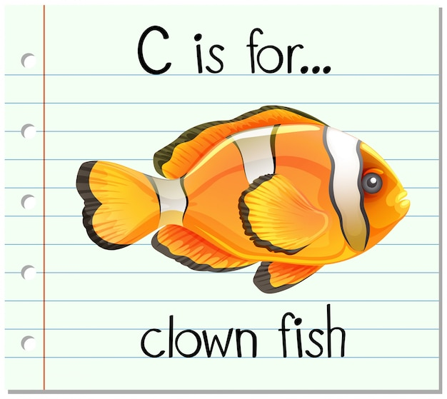 Flashcard letter c is voor clownvissen