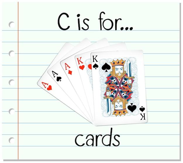 Flashcard letter c is voor kaarten