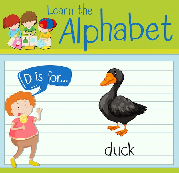 Flashcard letter d is voor eend