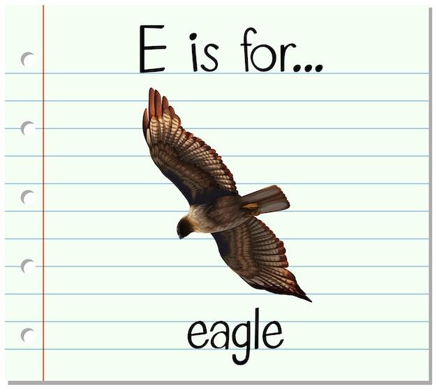 Flashcard letter e is voor adelaar