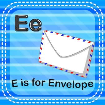 Flashcard letter e is voor envelop