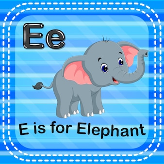 Flashcard letter e is voor olifant