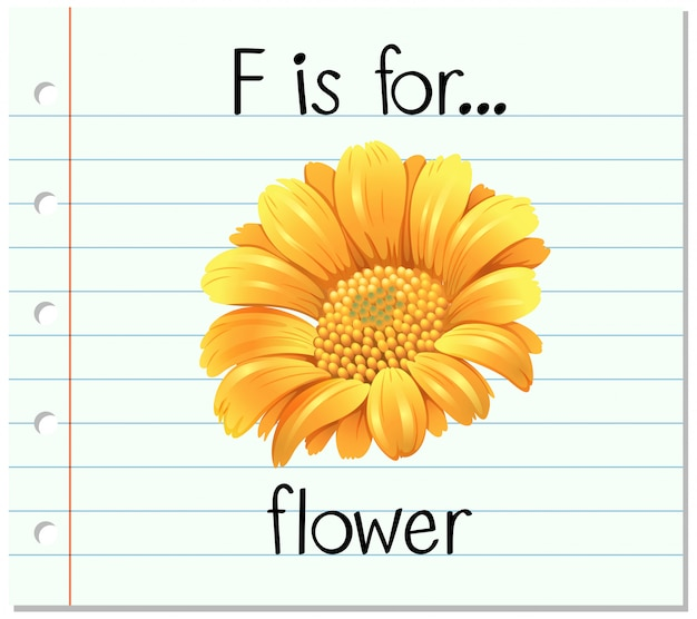 Flashcard letter f is voor bloem