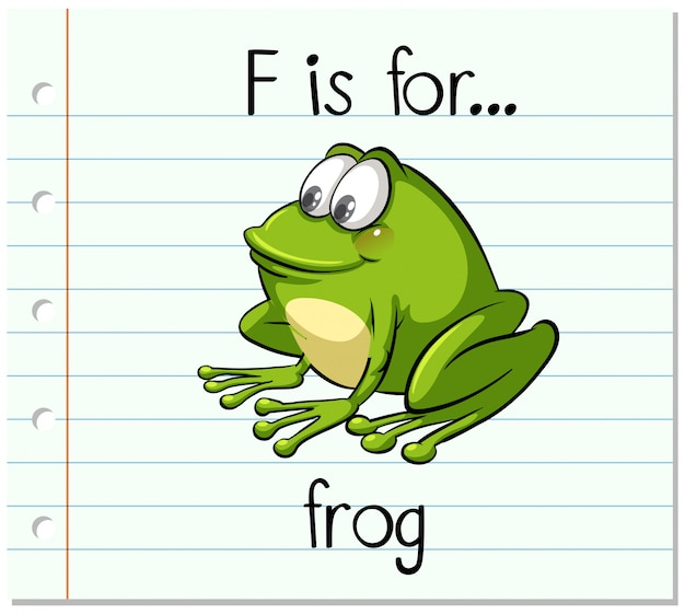 Flashcard letter f is voor kikker